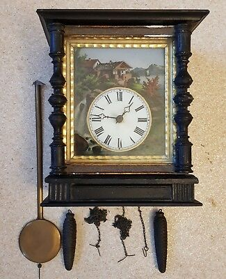 1800s Black Forest Cookoo Cuckoo Style Clock Hand Painted Glass Face Stamped