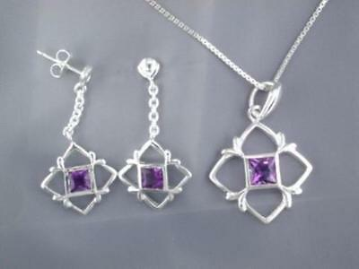 50% OFF!!! FLAWLESS DESIGN 2.50ct Princess AMETHYST Pendant Chain & Earrings SET