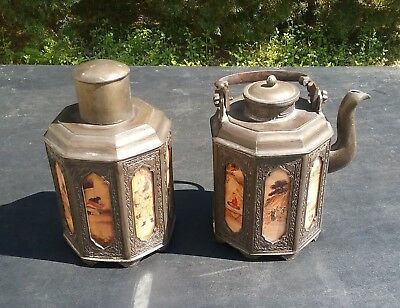 Antique Signed Chinese Bronze Tea Caddy & Teapot Set With Painted Glass Panels