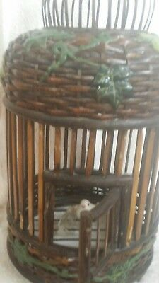 vintage chinese bamboo bird cage with ivy decoration