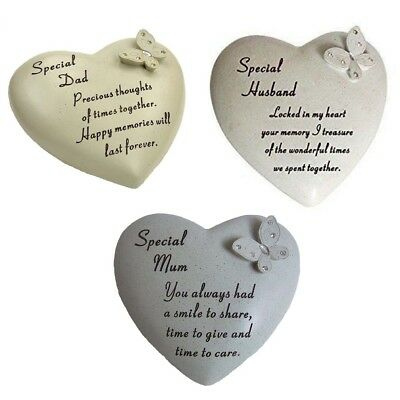 Sentimental Heart Shape Memorial Stone Ornament Grave Plaque For Grandad Mum Nan