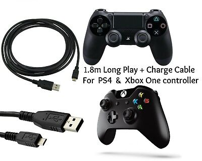 1.8m Play & Charging Charger Lead Cable FITS PS4 + Xbox One Controller GamePad