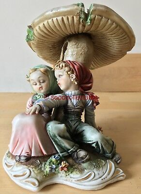 CAPODIMONTE porcelain TIZIANO GALLI figurine group of BOY & GIRL under TOADSTOOL