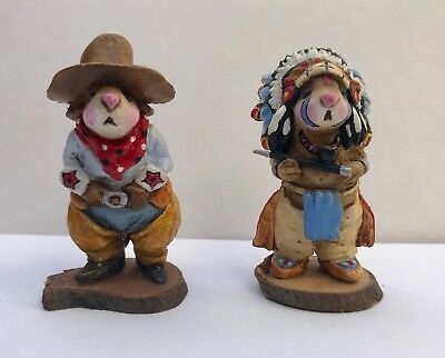WEE FOREST FOLK COWBOY and INDIAN - VERY RARE from 1970's LARGER than most mice