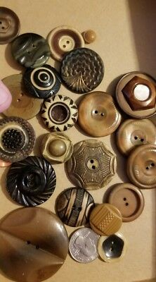 25 large VINTAGE PLASTIC BUTTONS~BLACK  CREAM, brown CELLULOID - BUFFED LAYERED