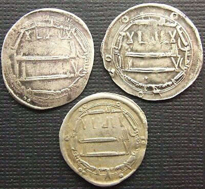 ISLAMIC, Abbasid. Lot of 3 silver Dirhams; Various mint and issues