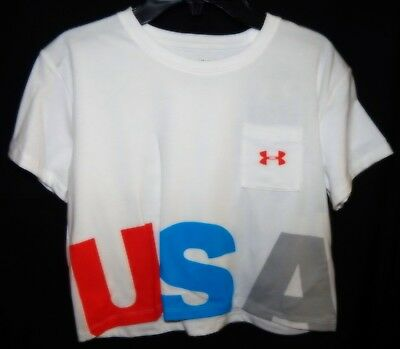 "Under Armour HeatGear Girls ""USA"" Cropped Tee Sz YMD Loose White NWT"
