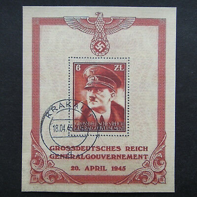 Germany Nazi 1945 Stamp Used Sheet Adolf Hitler Swastika Eagle WWII Third Reich