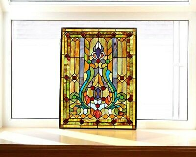 Stained Glass Window Panel Tiffany Style Hanging Wall Art Home Decor 18 x 24