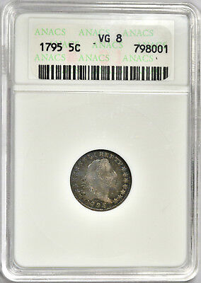 1795 Flowing Hair Half Dime - Anacs Vg Very Good -  Problem Free & Original!