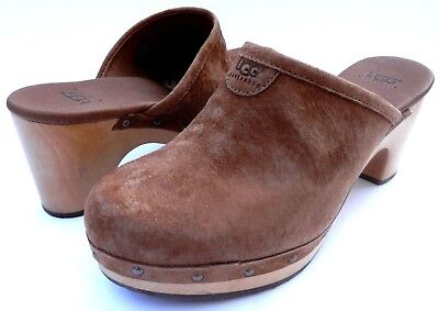 bc2d72b53db NEW WOMEN'S UGG Wooden Platform Leather Sandals Mules Shoes Size 7