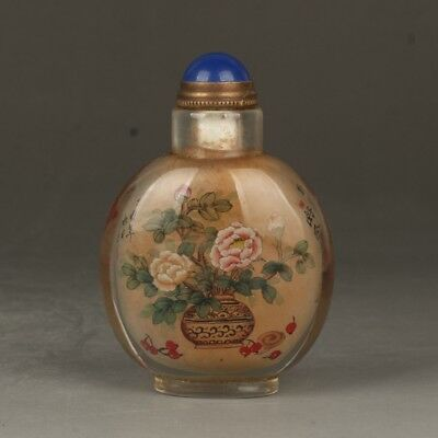 Chinese Exquisite Handmade Flower Lotus Pattern Glass Snuff Bottle