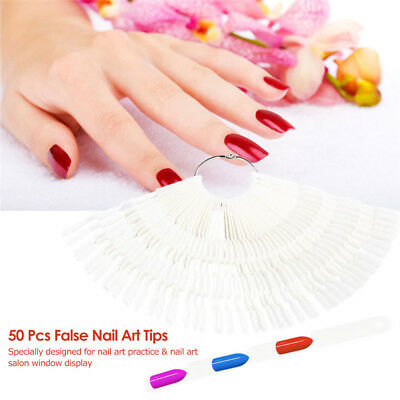 50Pcs Foldable Fan False Clear Nail Art Tip Polish Practice Display Sticks