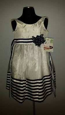 3f0c68f0751 NWT Bonnie Jean girls white and navy stripes dress size 6X