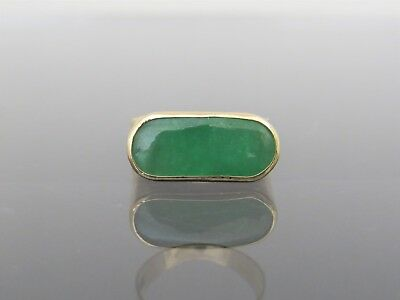 Vintage 18K Solid Yellow Gold Natural Green Jadeite Jade Saddle Ring Size 8.25
