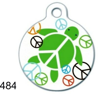 Made In USA Round Pet Tags Custom Engraved ID Tags Dog Tag Cat Cute Peace Turtle
