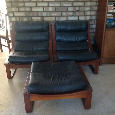 Vintage Lounge Chairs Catt Jarrah Leather good condition 4 chairs 1  footstool