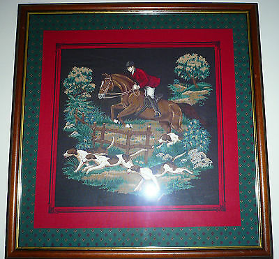 Vintage Hunstsman & Hounds Scene. 48cm sq, Silk, woven or cotton? Collect WV14