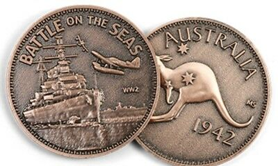 WW11 Battle on the Seas (RAN) Penny Medallion *NEW *Remembrance Day * ANZAC Day