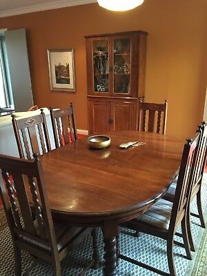 Jacobean dining table with 6 chairs and extension leaf