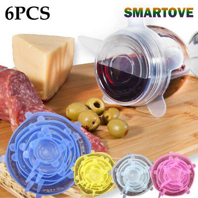 6PCS Insta Lids Kitchen Silicone Stretch Suction Pot Cooking Stopper Cover