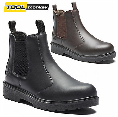 Dickies Mens Dealer Chelsea Safety Boot - Steel Toe Work Shoes - Leather Upper