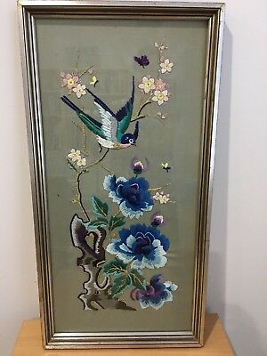Vintage Hand Embroidered Bird and Flowers Art, Picture (2)