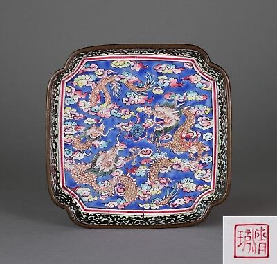 Early 19th Century Chinese Painted Canton Enamel Tray with Mark to Base