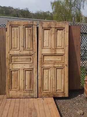 Pair Old big heavy Victorian fldoors-reclaimed