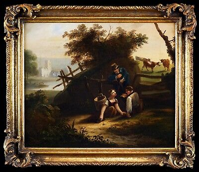 Mid 19th Cent. English Genre Antique Oil Painting - Figures in a Landscape