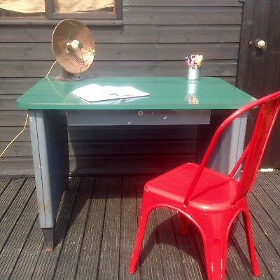 INDUSTRIAL VINTAGE 1940s METAL DESK WITH DRAWER FORMICA TOP - HOME OR OFFICE