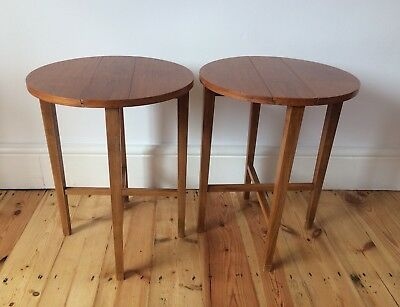 VINTAGE TEAK FOLDING SIDE COFFEE BEDSIDE TABLES x2