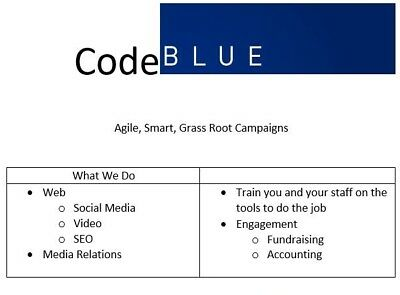 Code BLUE Campaign Orientation Session Social Media, SEO, Media, Training