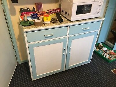 Vintage 1940's Kitchen Wooden Base Cupboard Blue & White