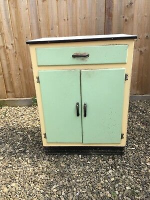 Vintage 1940's Bathroom Cupboard / Washstand - Enamel Top - Green / Cream