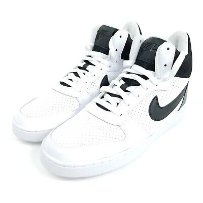 new style 21bfa ef35a NIKE Court Borough Mid Mens Sz 9.5 Shoes Black White 838938 100