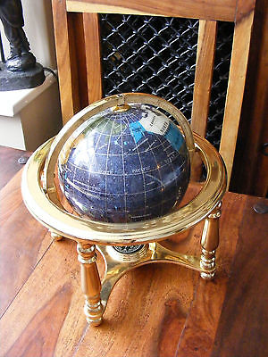 "Small 6"" Diameter Purple Gemstone Globe Semi Precious Stones On Brass Stand"