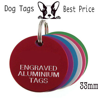 Engraved Pet Tags Aluminium DOG CAT ID Disc 7 Colours Deep Engraving Identity