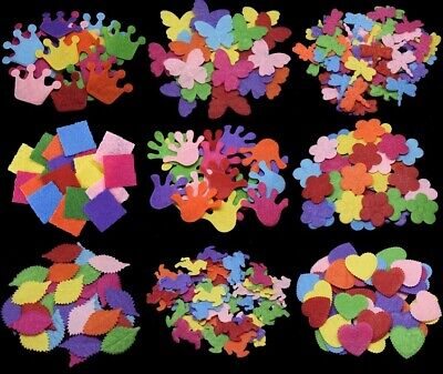 Die Cut Felt Shapes 15 Designs Card Making Crafts - Heart, Flower - BU1291