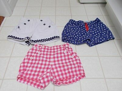 Lot of 3 Pairs Mini Boden Girls Shorts Red White Check Blue Polka Dot White 10Y
