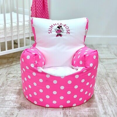 Childrens Kids Pre Filled Personalised Bean Bag Chair Seat Girls Minnie Mouse
