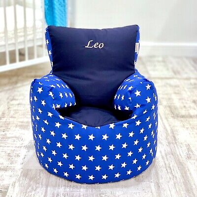 Childrens Kids Toddler Pre Filled Personalised Bean Bag Chair Seat Boys