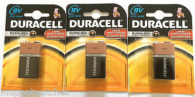 3 x Duracell Battery 9V 6LR61 MN1604 Alkaline Square Block Smoke Alarm Batteries