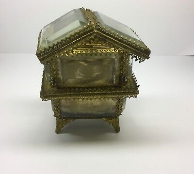 19th C Bronze Belved Glass Pocket Watch Holder Unusual Shape
