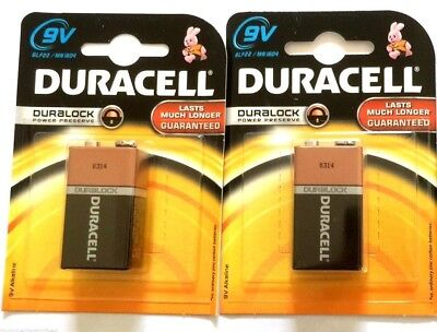 2 x Duracell Battery 9V 6LR61 MN1604 Alkaline Square Block Smoke Alarm Batteries
