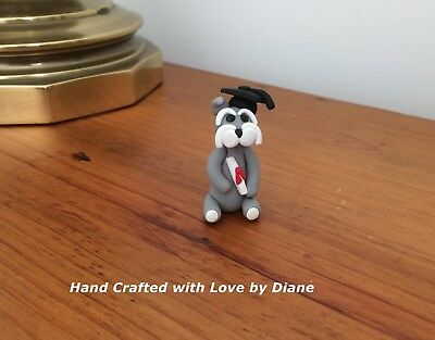 Miniature Hand Crafted Polymer Clay Graduation Schnauzer with cap & diploma