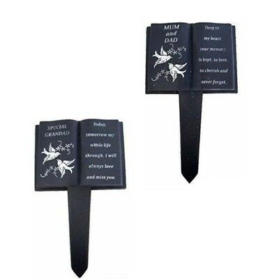 Grandad,Mum & Dad Slate Grey Memorial Book Stake Grave Plaque Spike Tribute