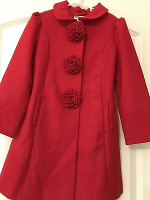 Janie and Jack Forever Rose Red Rosette Coat Size 6