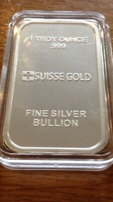 1oz Suisse Gold 2012 Year Of The Dragon 999 Pure Silver Bullion Bar