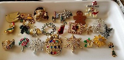 Christmas Holiday Vintage To Modern Brooches, Pins,  Lot Of 23 Pieces